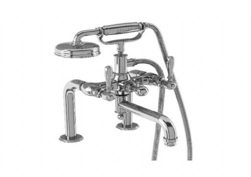 Arcade Brass Lever Deck Mounted Bath Shower Mixer, Chrome or Nickel